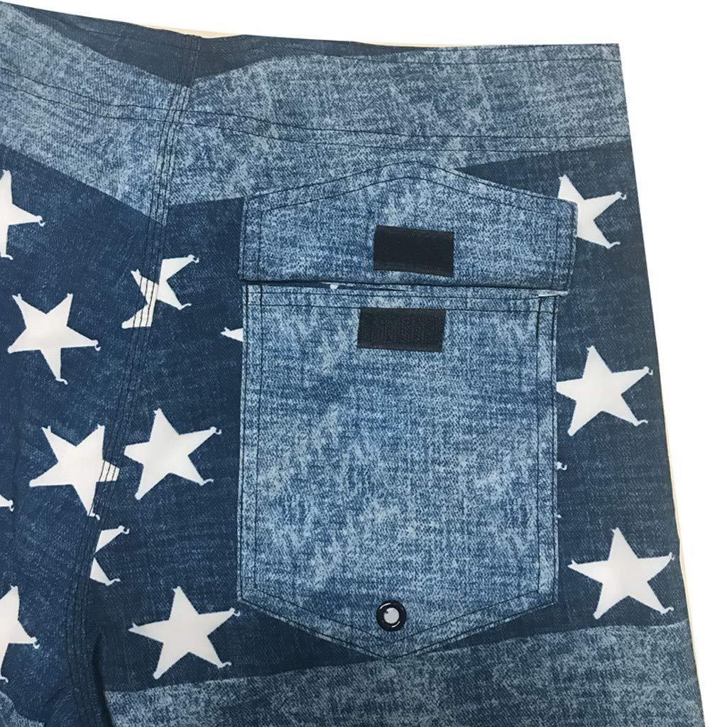 Atom Little Mens Swim Trunks Drawstring Quick Dry Casual Loose Pants Surf Suits Beach Swim Star Printed Shorts