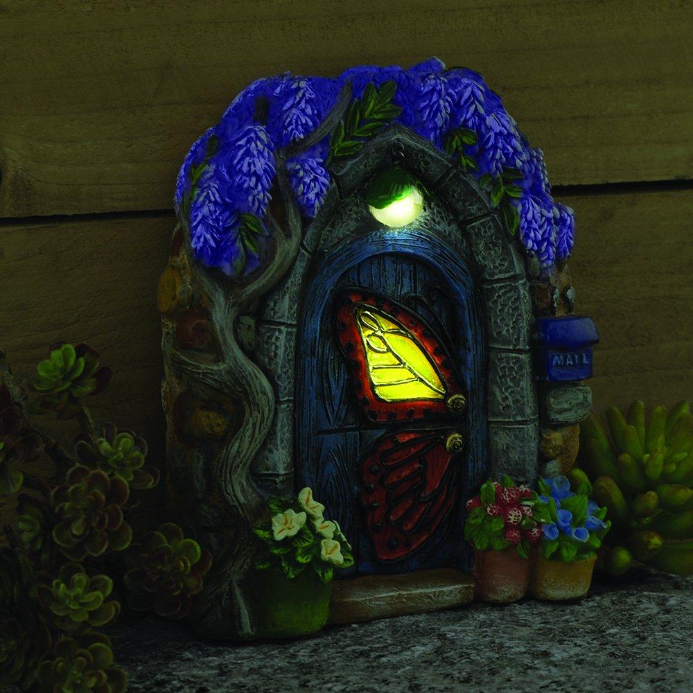 Miniature Fairy Garden ''Papillon'' Butterfly Solar Fairy Door