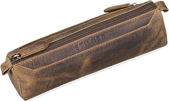 STILORD Jim Estuche o Bolsa para lápices y bolígrafos de Cuero Portatodo Escolar Redondo para Hombres y Mujeres Cartuchera de Piel auténtica, Color:marrón - Medio: Amazon.es: Equipaje