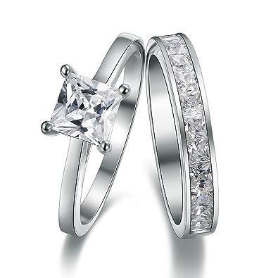 Amazon Com Sreema London 925 Sterling Silver Princess Cut Crystals