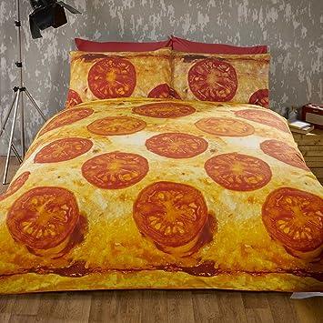 Rapport Edredón para colchón Pizza King Size y 2 Fundas de Almohadas Juego de Ropa de Cama diseño Funky Food.: Amazon.es: Hogar