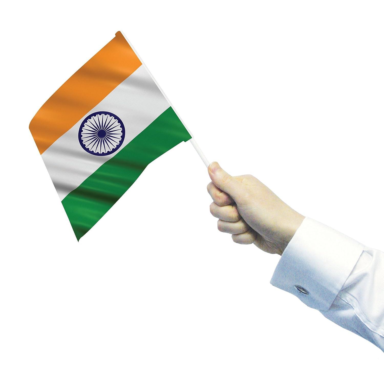 India - 12 Waving/hand Flags On Sticks B005THZ3NS