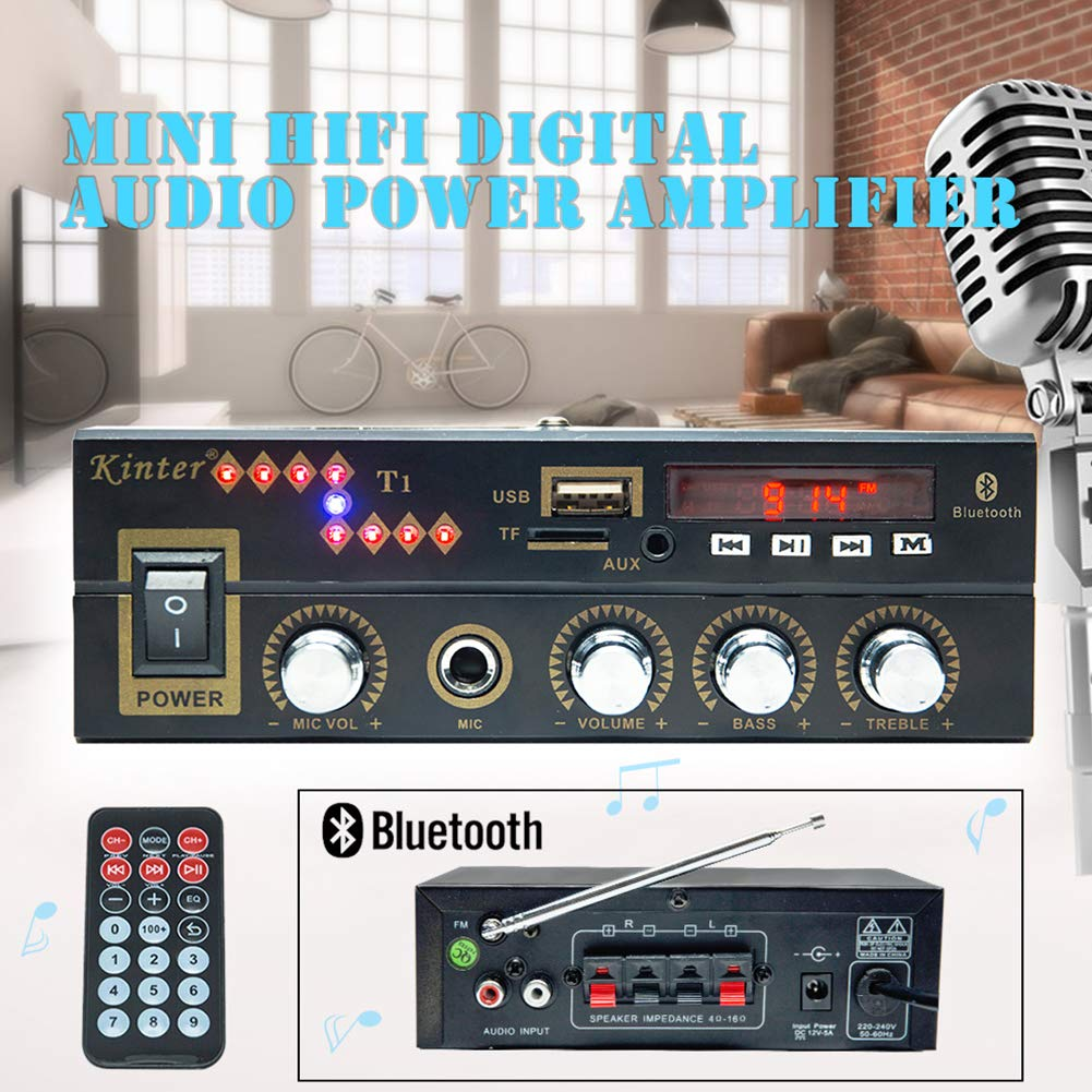 DishyKooker Digital Car Amplifier Kinter T1 Blueteeth Player 2X 25W DC12V 220V Karaoke Input Auto Parts Motorcycle Fittings Car Accessories