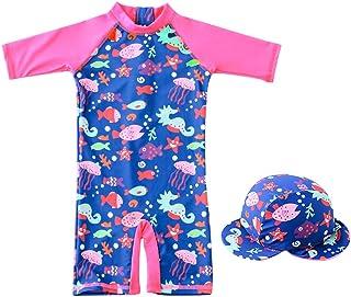 Costume da Bagno per Bambina - Ragazze Costumi Interi Protezione Solare Sunsuit con Cuffia da Nuoto