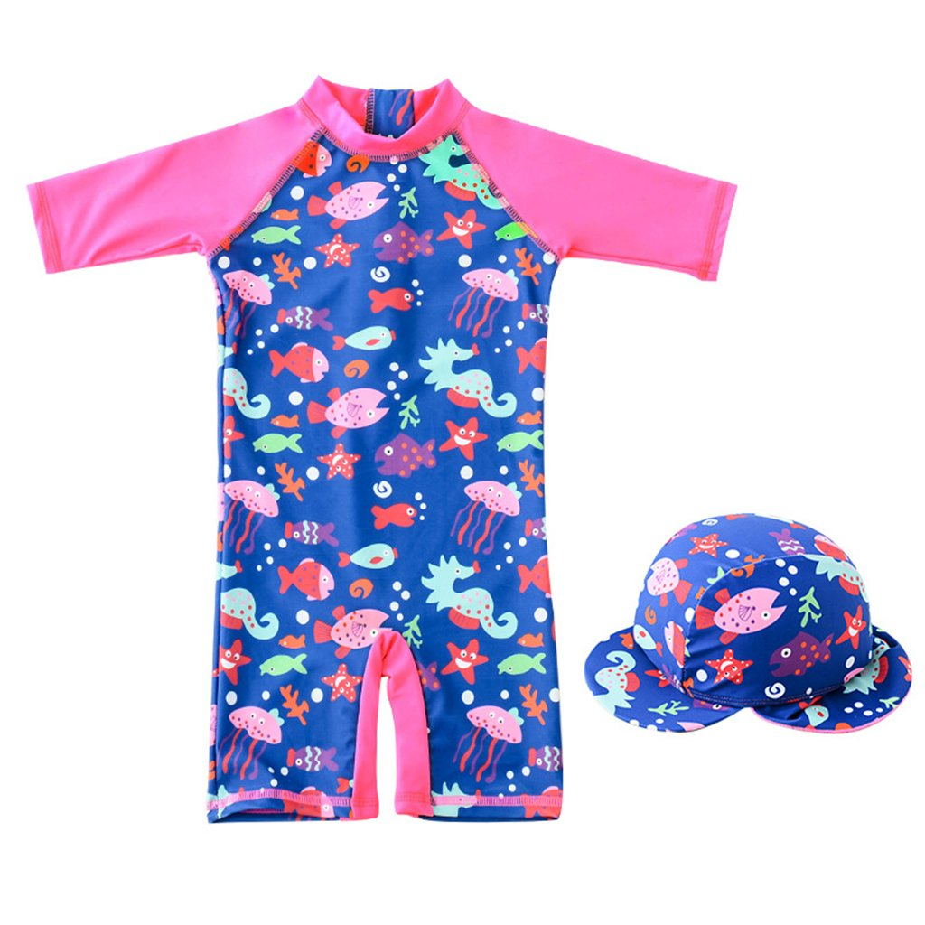 Girls Swimsuits Kids Swimwear - Children One-Piece Swimming Beach Costume All-in-One Sunsuit with Swimming Cap, 9Months-7Years
