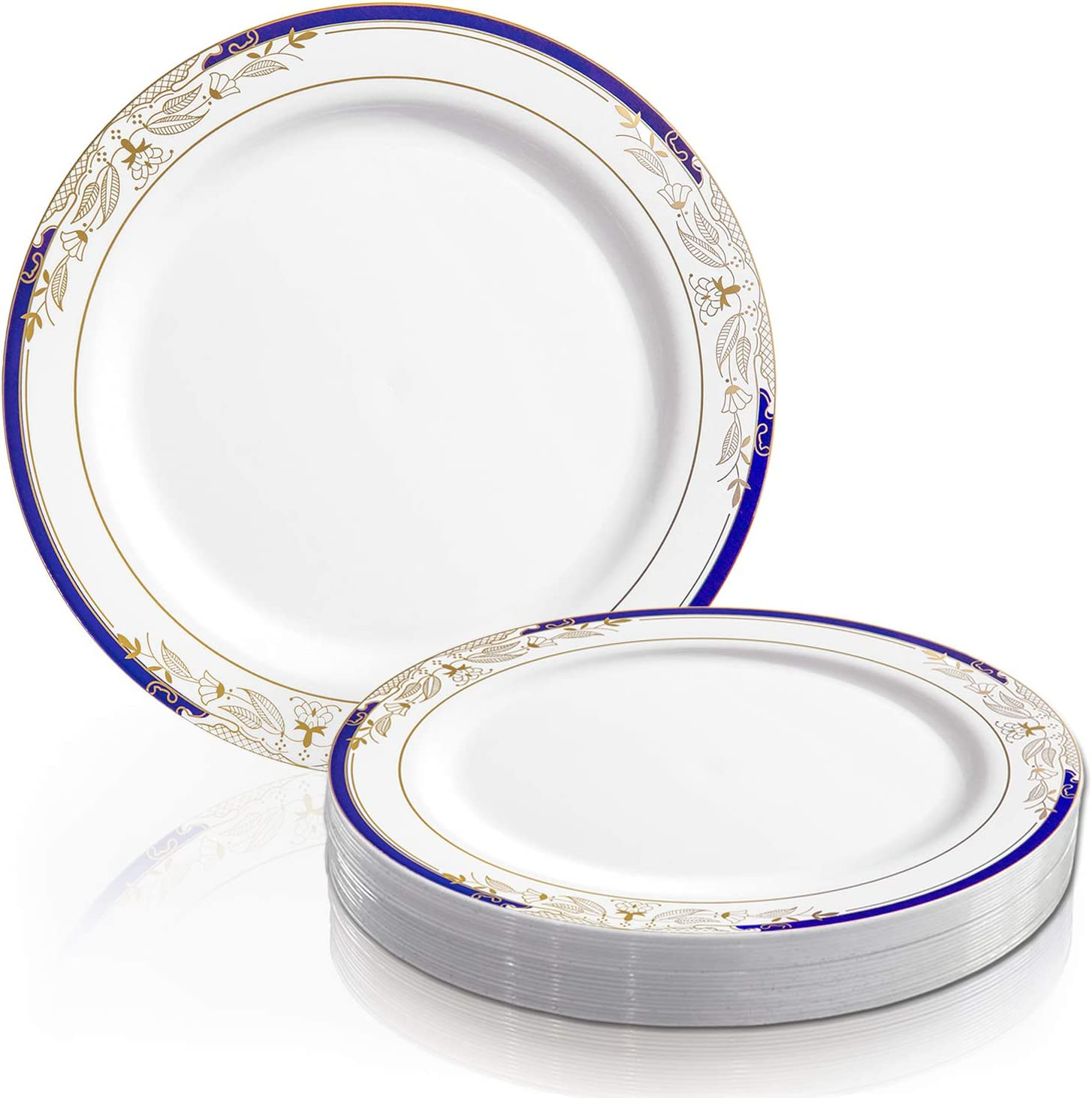 """Elegant Disposable Plastic Dinner Plates 120 Pcs - 10.25"""" Heavy Duty Fancy White with Blue & Gold Rim Dinner Plates - Reusable Bulk Party Supplies For Wedding, Easter, Birthday & All Occasions 716DQRAcDbL"""