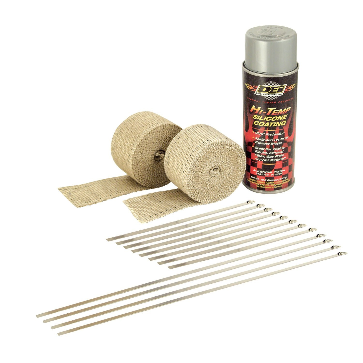 Design Engineering DEI 010331 Motorcycle Exhaust Pipe Wrap Kit with Hi-Temp Silicone Coating Spray - Tan Wrap/Aluminum Spray