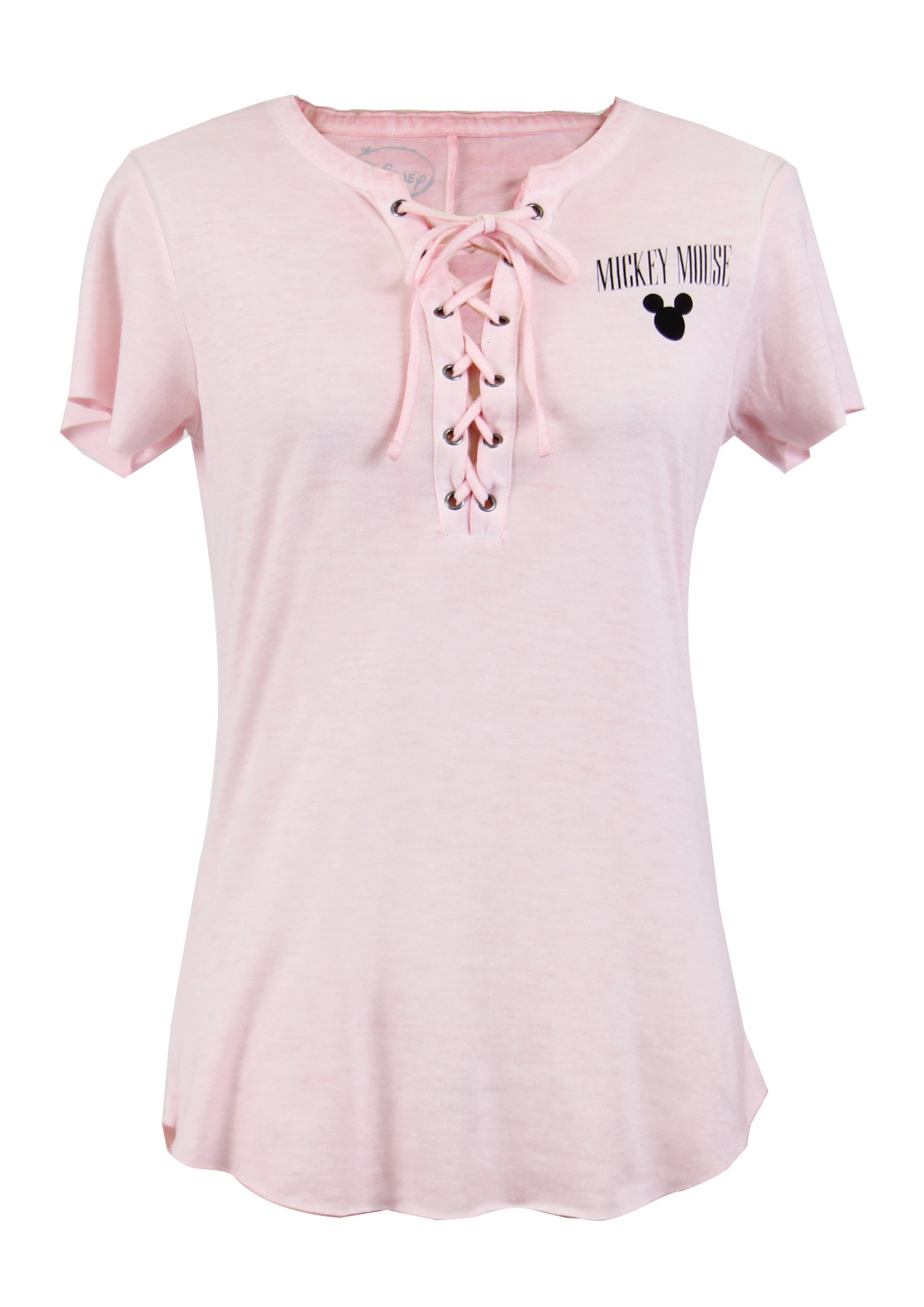 Disney Mickey Mouse Pink Graphic Tie Front Short Sleeve T-Shirt (Medium) by CITY DISNEY