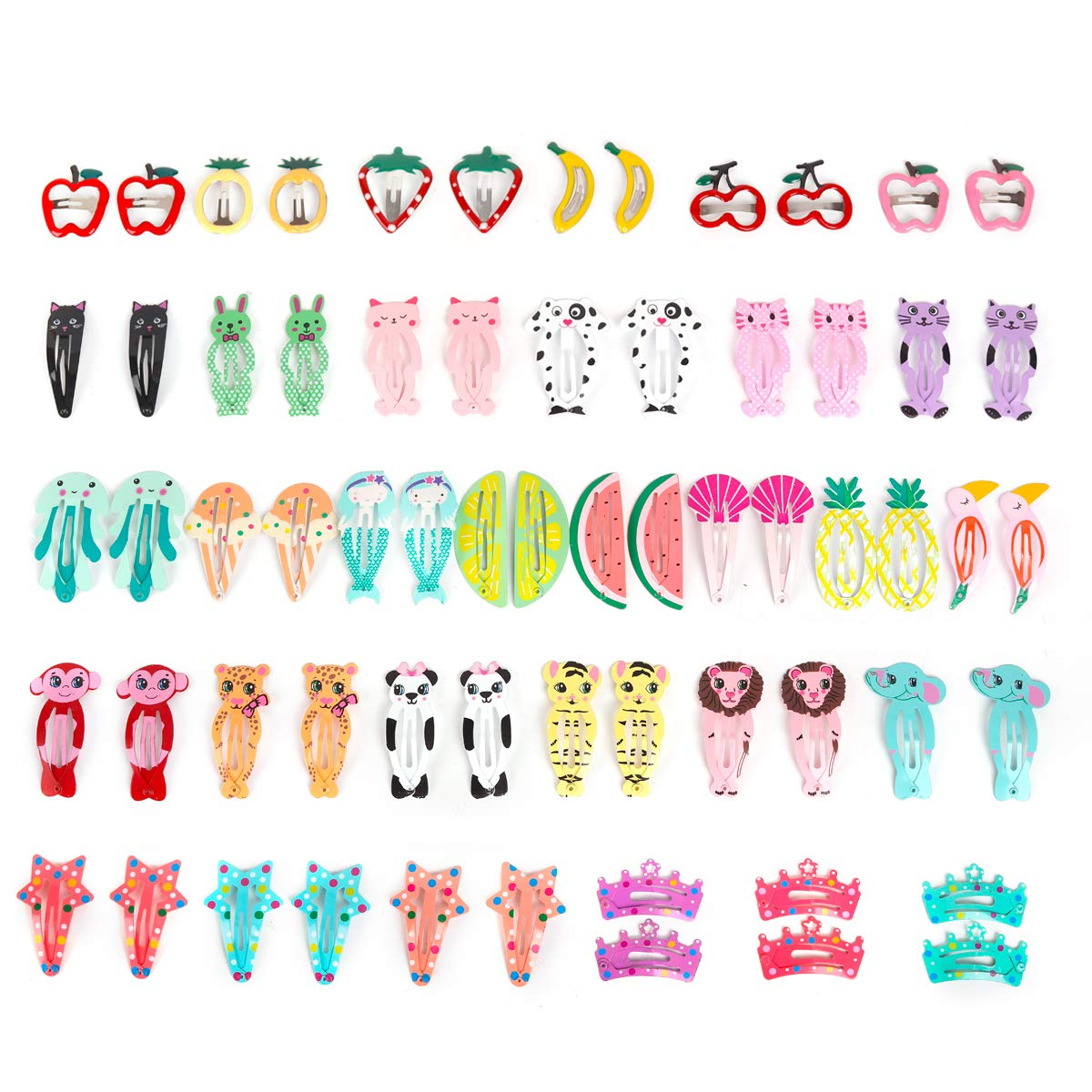 64 Pcs Baby Girls Hair Clips Animal Pattern Print Girls' Metal Snap Hair Clips Hair Accessories for Kids Toddlers Girls