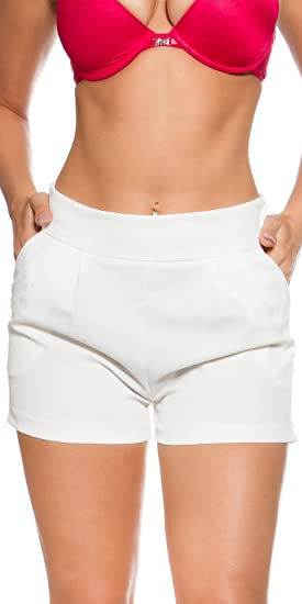 f1321a5e5e3a8c Short Blanc cassé Court habillé Glamour Femme Taille 38: Amazon.fr ...