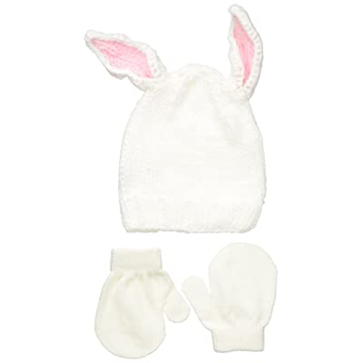 1b7787cd ABG Accessories Baby Girls' Bunny Chunky Knit Beanie with 3d Ears and  Mitten Set