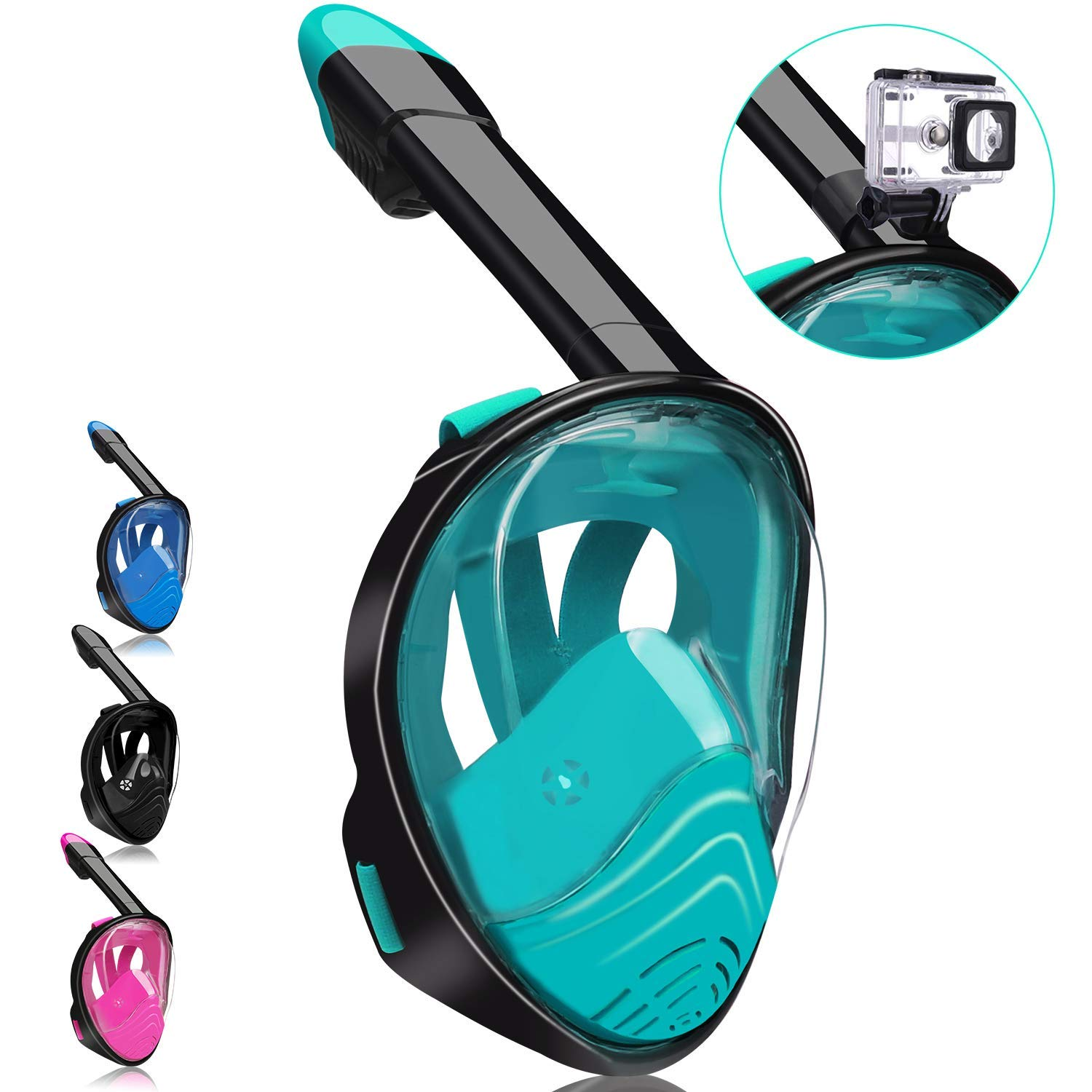 QingSong Full Face Snorkel Mask, Snorkeling Mask with Detachable Camera Mount, 180 Degree Panoramic View Anti-Fog Anti-Leak Snorkel Set for Kids & Adult