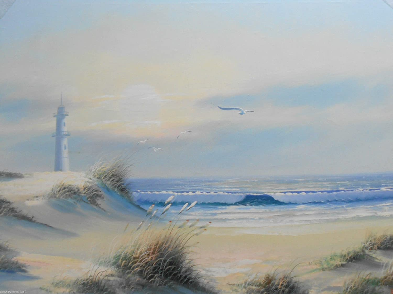 Amazon Com K Wilson Beach Lighthouse Original Oil Signed Paintings
