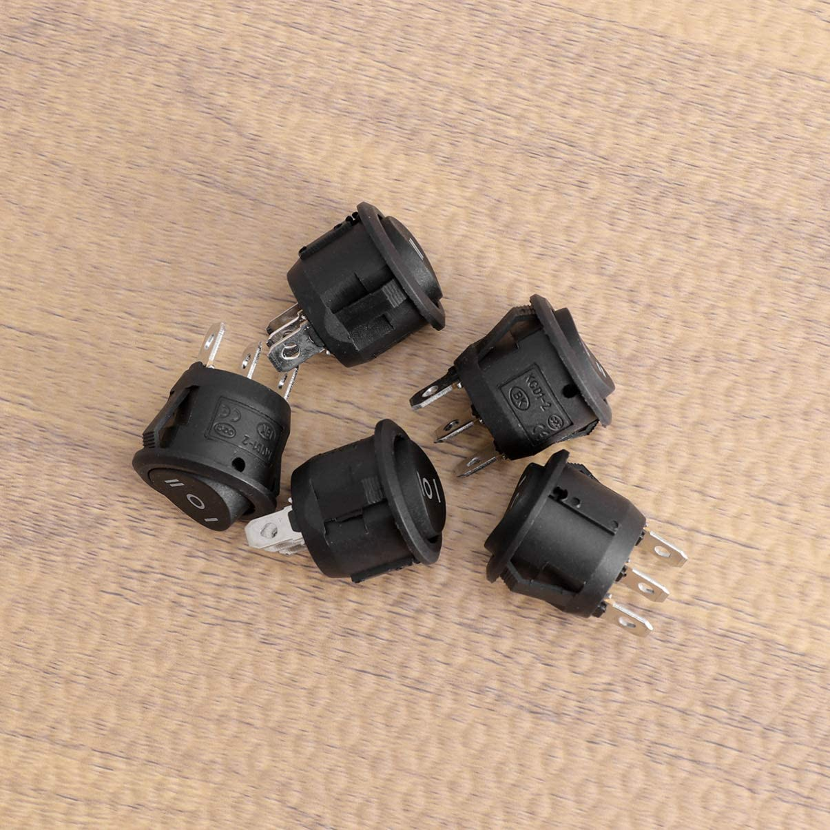 VOSAREA 5 PCS 23mm Plastic Rocker Switches Small Durable Round Push Buttons for Autos Cars Vehicle Water Dispensers Boats