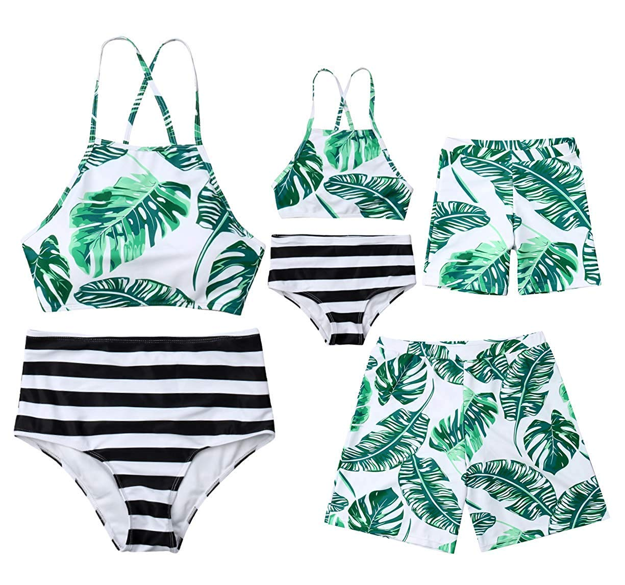 XBTCLXEBCO Baby Girls Swimsuits Mommy and Me Bathing Suits Family Matching Two Piece Bikini Set