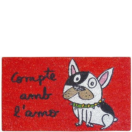 Rojo Fibra de Coco y PVC Base Laroom Felpudo 40 x 70 cm