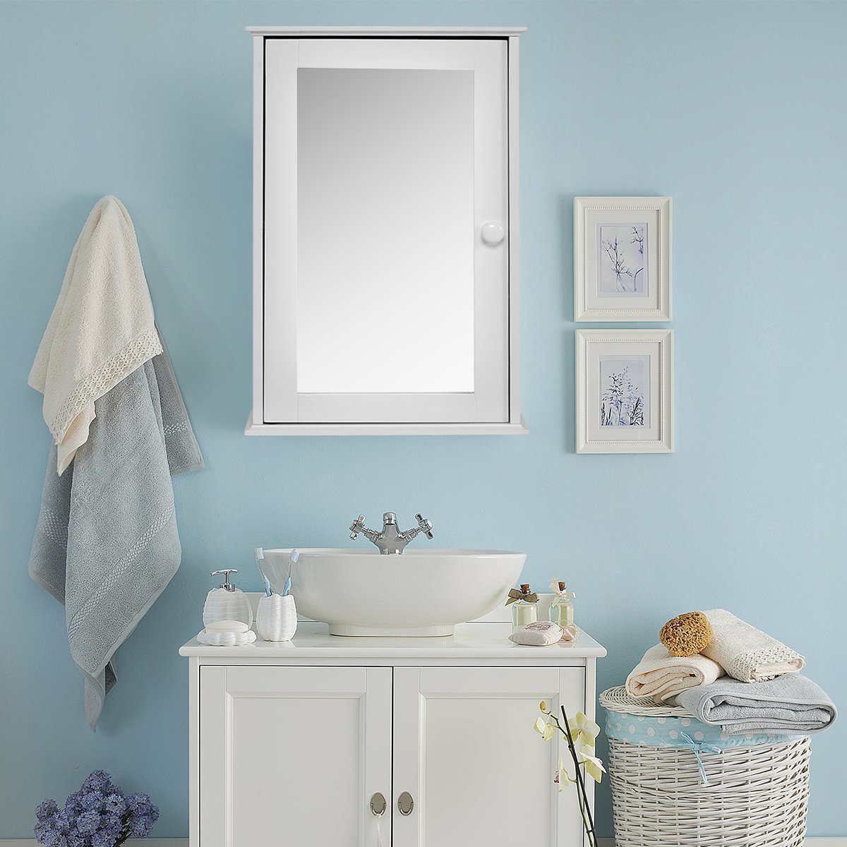 TANGKULA Mirrored Bathroom Cabinet Wall Mount Storage Organizer Medicine Cabinet with Single Doors White (White) by TANGKULA