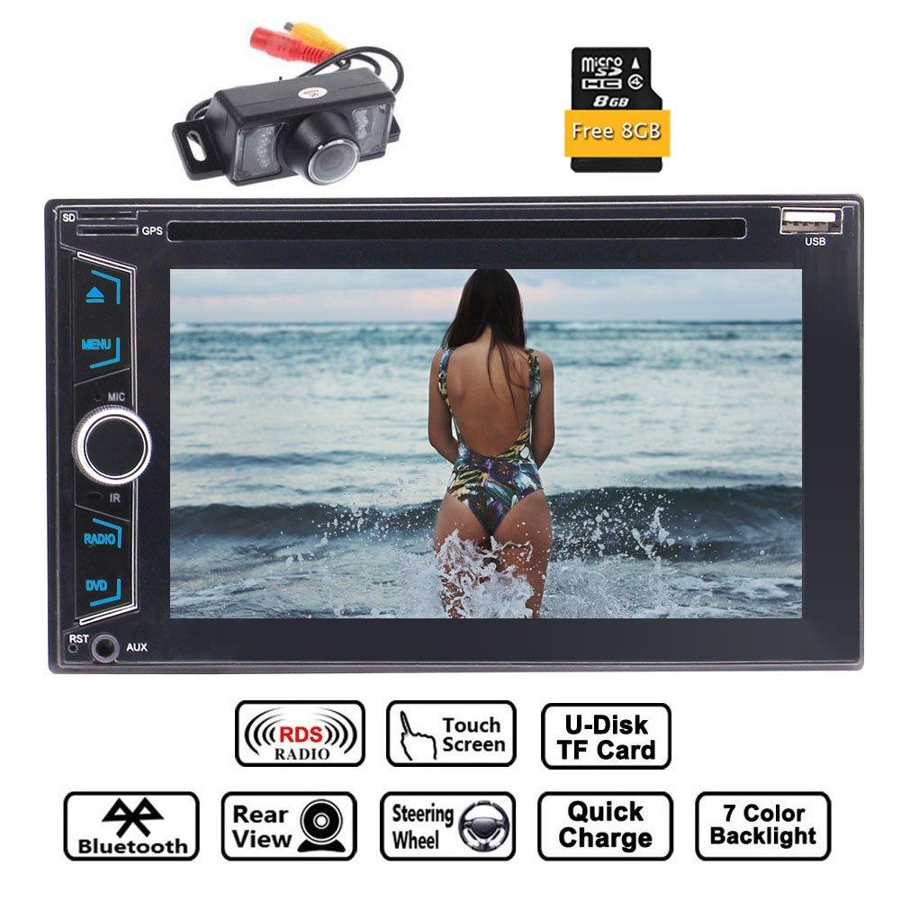 6.2ダブル2ディンGPSカーラジオステレオ「」8ギガバイト地図カード+リアカメラ+リモコン付き容量性タッチスクリーンのサポートGPS土ナビDVD CDプレーヤーFM AMラジオRDSのBluetooth AUX USBデュアルSDカードスロット B079K7LY7T