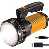 CSNDICE 35W Rechargeable Handheld Flashlights- High Lumens Spotlight 9000 Lumens, IPX45 Waterproof Rechargeable Spotlight USB