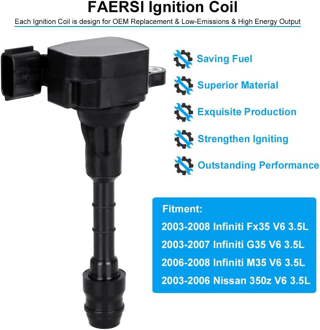 Ignition Coil 6PCS for 2003-2008 Infiniti FX35 G35 M35 Nissan 350Z 22448AL61C