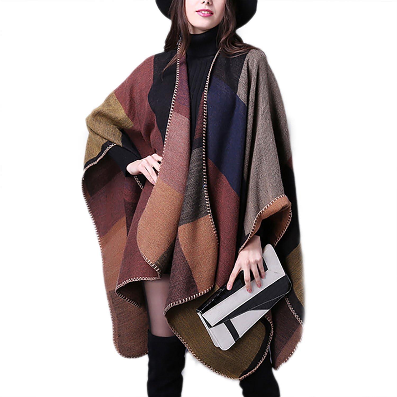 Block style Reversible Blanket Poncho