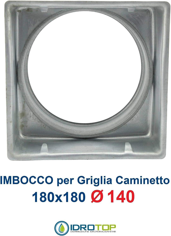 Griglia Bocchetta 18x18cm Diam.120mm Bianca con RETE e Adattatore per Camino