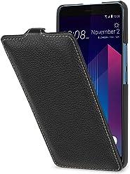 StilGut UltraSlim Case, Custodia Flip Case per HTC U11+ in Vera Pelle, Nero