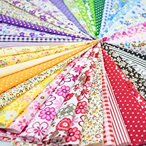 "Foraineam 60 PCS Different Designs 9.8"" x 9.8"" (25cm x 25cm) Cotton Craft Fabric Bundle Printed Patchwork Squares for DIY Sewing Quilting Scrapbooking"