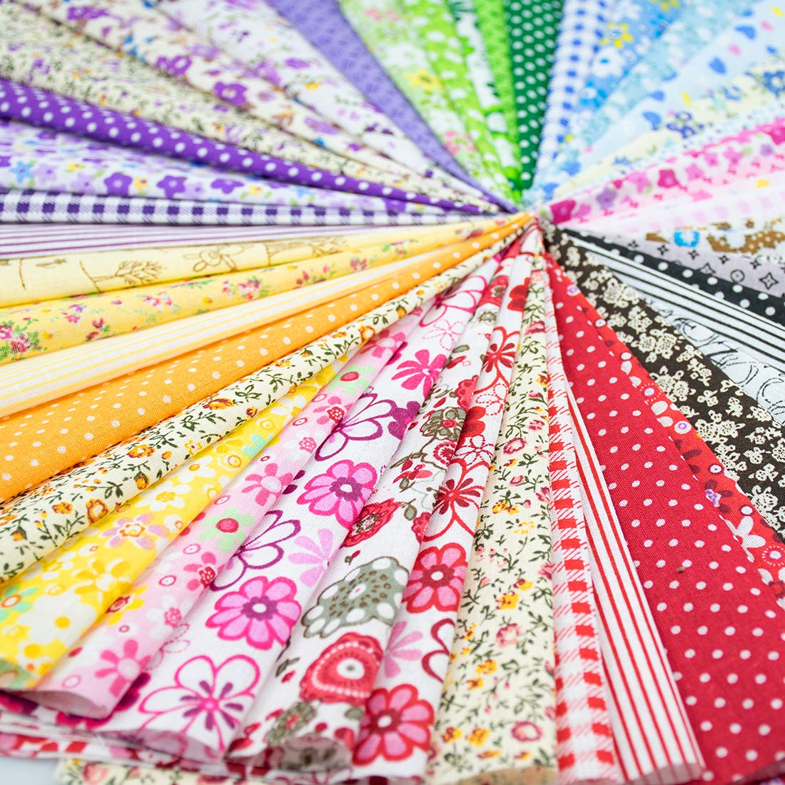 Foraineam 60 PCS Different Designs9.8'' x 9.8'' (25cm x 25cm) Cotton Craft Fabric Bundle Printed Patchwork Squares for DIY Sewing Quilting Scrapbooking by Foraineam (Image #1)