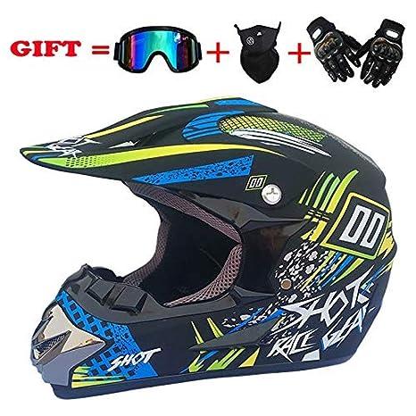 FDDA Adulto Motocross Cascos de Motos con Gafas Máscara ...