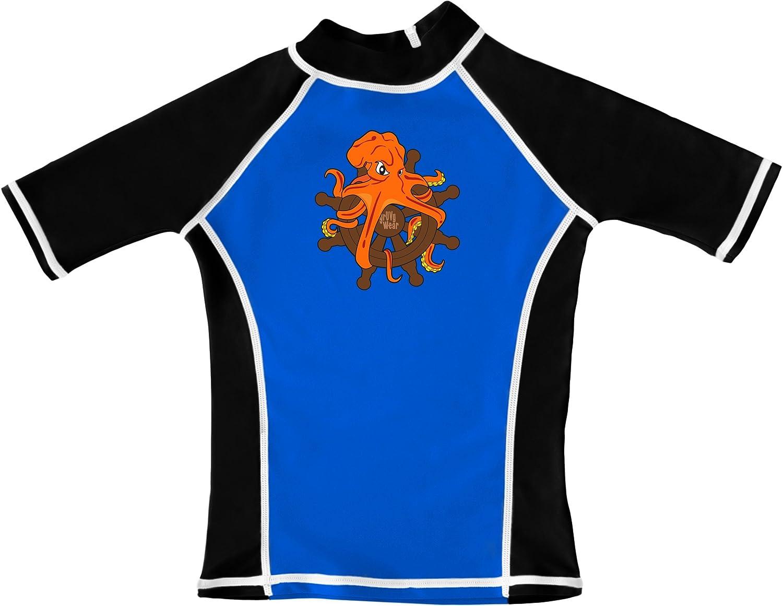 grUVywear UV Sun Protective Boys Octopus Rash Guard Swim Shirt UPF 50+