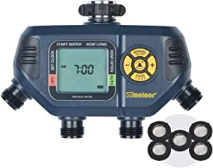 Melnor 65036-AMZ AquaTimer 4-Zone Digital Timer with 5 Stainless Steel Filter Washers Watering Set