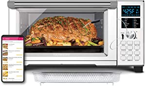 NUWAVE BRAVO XL 1800-Watt Convection Oven with Crisping and Flavor Infusion Technology (FIT) with Integrated Digital Temperature Probe for Perfect Results; 12 Programmed Presets; 3 Fan Speeds; 5-Quartz Heating Elements; Precision Temperature Control from 100F to 450F in 5F increments; Cook up to a 10 LB. Chicken, 13 inch Pizza, or 9 Slices of Toast; Air Fry, Broil, Bake, Roast, Grill, Toast; Dehydrate, Warm, and Reheat (NuWave Bravo Convection Oven)
