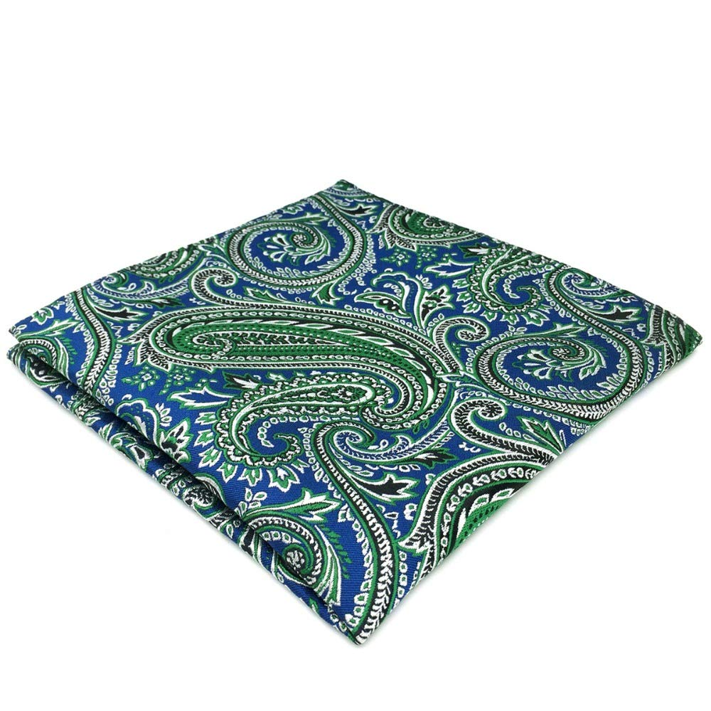 Shlax& Wing Paisley Blue Green Mens Pocket Square Silk Gift Jacquard Woven Hanky DH29