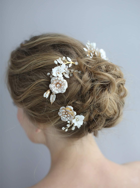 Bridal Hair Comb Gold Bridal Comb OLIVE Floral Bridal Accessory Ivory Bridal Headpiece Floral Hair Comb