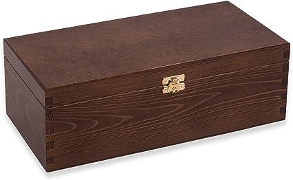 everlar® Caja de Madera Tapa de 33 x 11 x 16 cm para Whisky, silvicultura sostenible, Caja de Recuerdos, Caja para Juguetes, Cofre