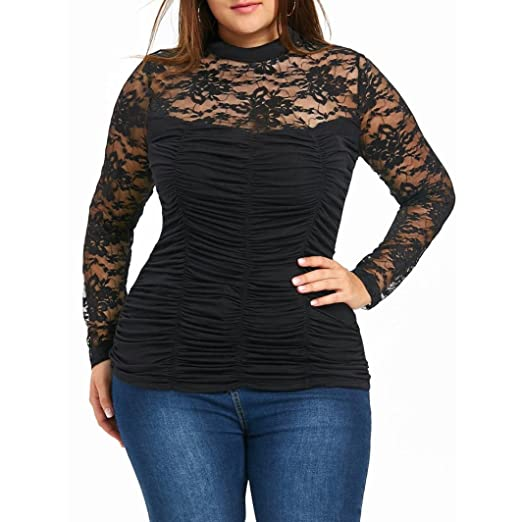 a59321f101 Goddessvan Plus Size Top,Women's Lace Long Sleeve Sheer Pleated T Shirt  Blouse