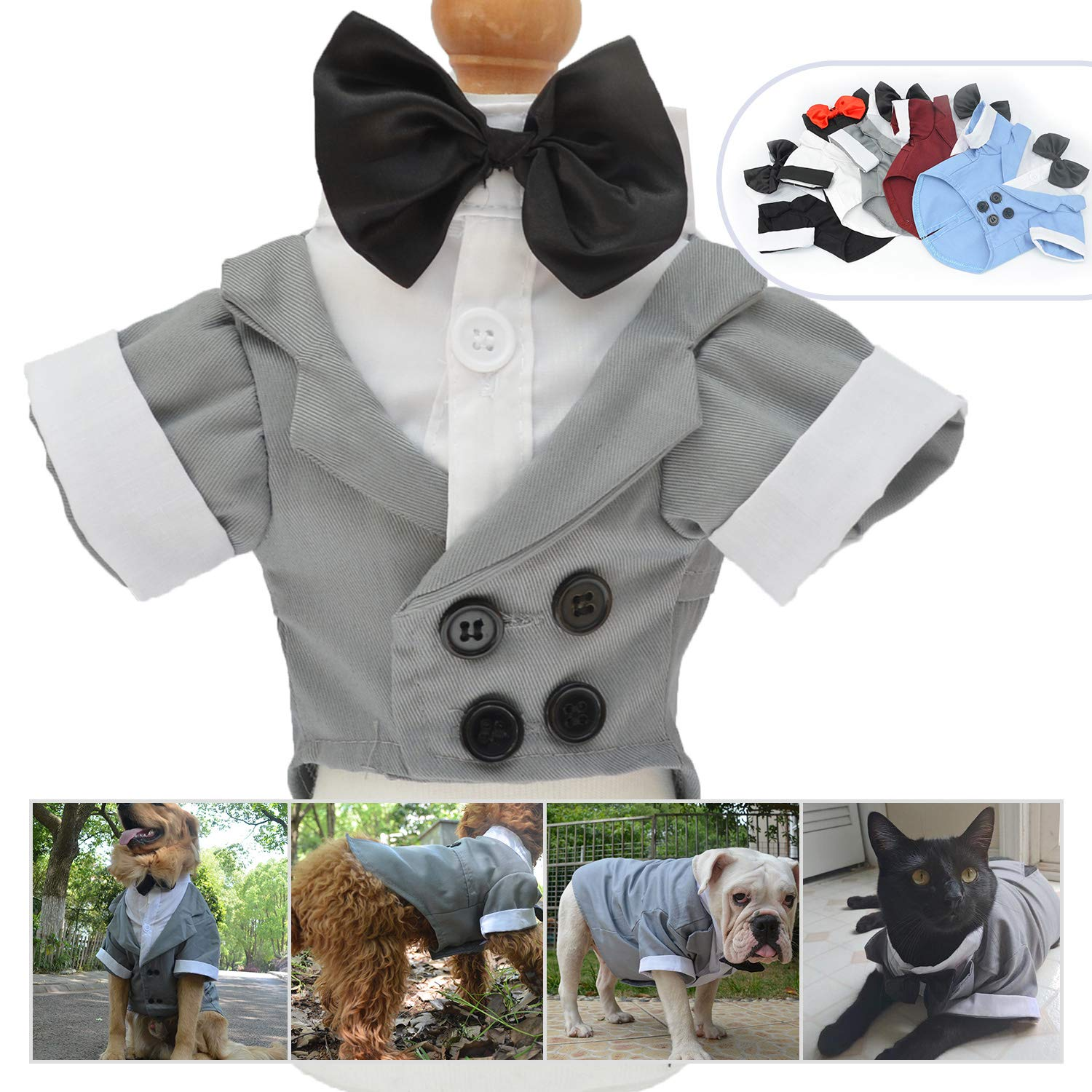 L, Gray longlongpet Pet Apparel Dog Clothes Suit Tuxedo With Bow Wedding Suits Party Costumes For Small Middle Large Dogs