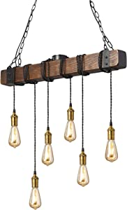 Flordeer Farmhouse Chandelier Rustic Pendant Lighting Vintage Industrial Wood 6-E26 Bulb Island Ceiling Light Fixture for Bedroom Dining Living Table Kitchen Bar Retro Hanging Lamp 31.4 inches