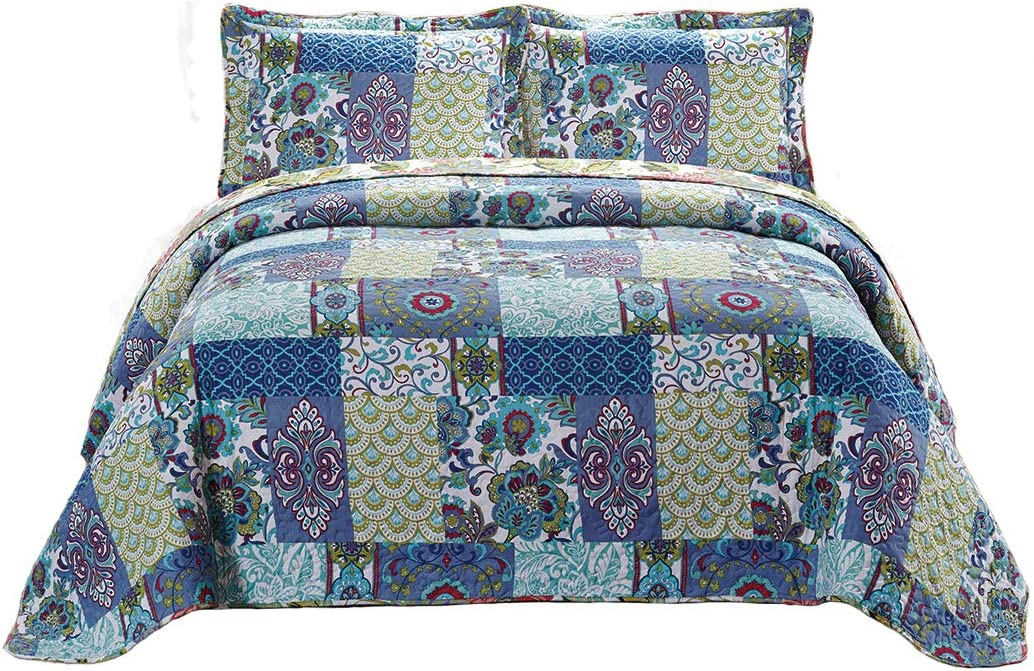 Mk Collection 3pc Full//Queen Oversize Reversible Quilted Bedspread Set Patchwork Floral Red Burgundy Green Beige Brown White New