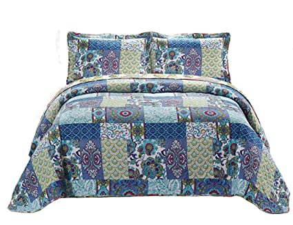 Amazoncom Fancy Collection 3pc Bedspread Bed Cover Floral Blue