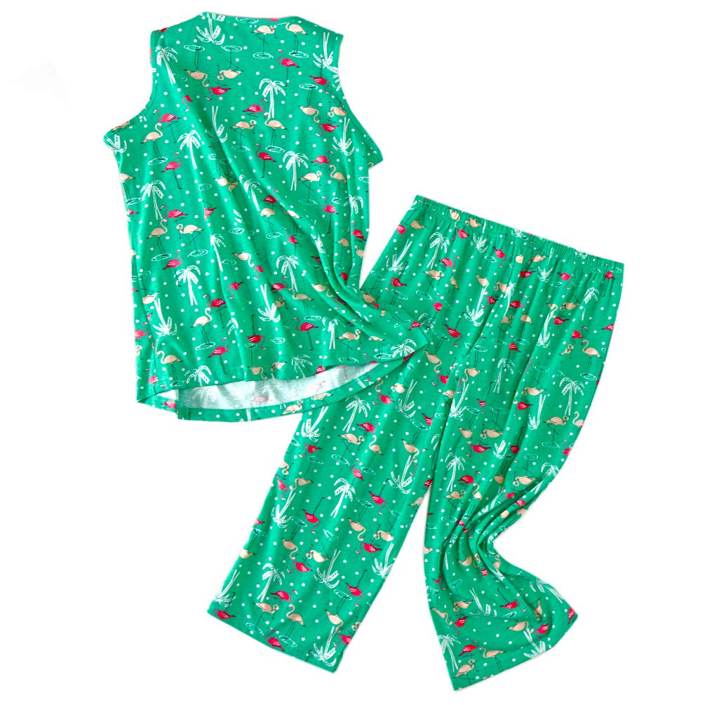 ENJOYNIGHT Womens Pajama Sleeveless Print Sets Tank Capir Pants Sleepwear Sets (Meduim, Flamingo)