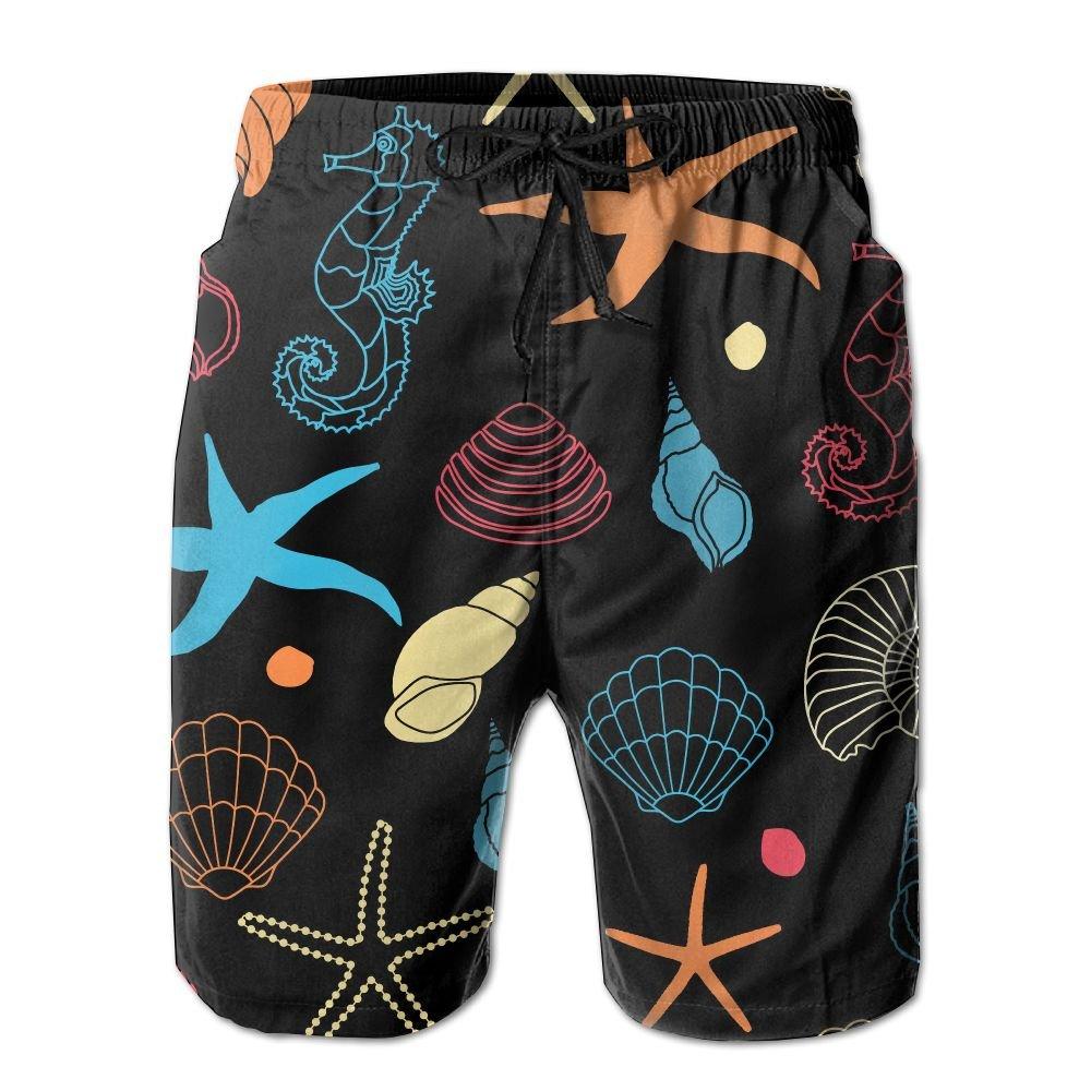 Yausend Mens Marine Organism Breathable Beach Board Shorts Swim Trunks Quick Dry