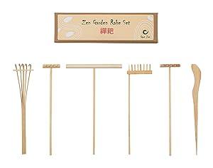 GGOT Zen Mini Zen Garden Rake Bamboo Tool Set - Foster Serenity and Spiritual Peace Through Zen Meditation – 4 x Rakes 1 x Drawing Pen and 1 x Sand Pushing Pen - Great Gift idea