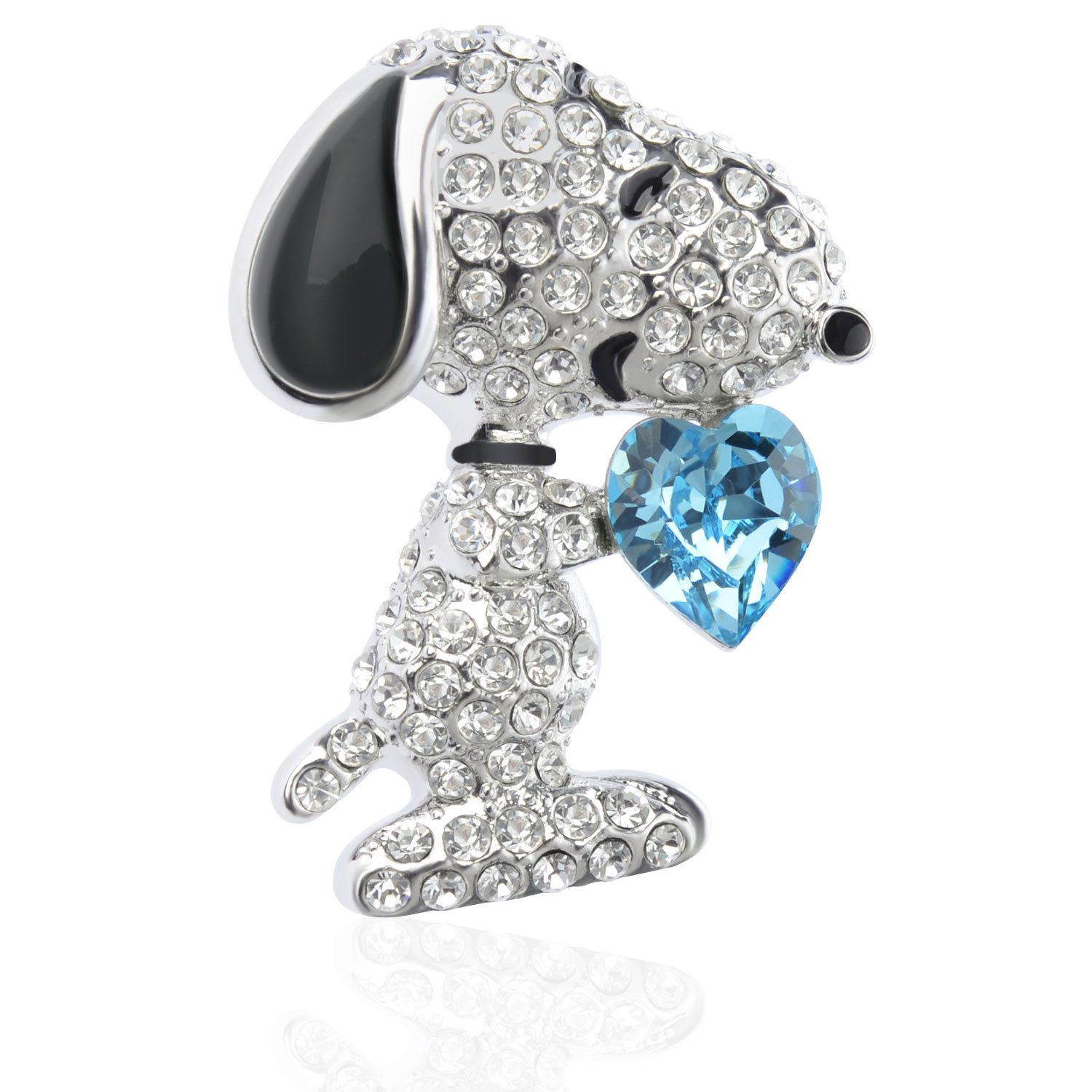 TAGOO Noble Peacock Bird Swan Vintage Monkey Seahorse Dolphin Snoopy Animal Brooches Pins Corsages Scarf Clips in Crystal Unisex Women&Men (Snoopy Design Blue Heart 1.26''H)