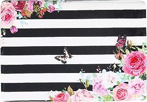 "Floral Memory Foam Bath Mat Plush Bathroom Decor Rug Thick Shaggy Bathroom Floor Carpet Absorbent, Super Cozy Non Slip Machine Wash and Dry, 16"" X 24"", Multi-Color Flowers White and Black Stripes"