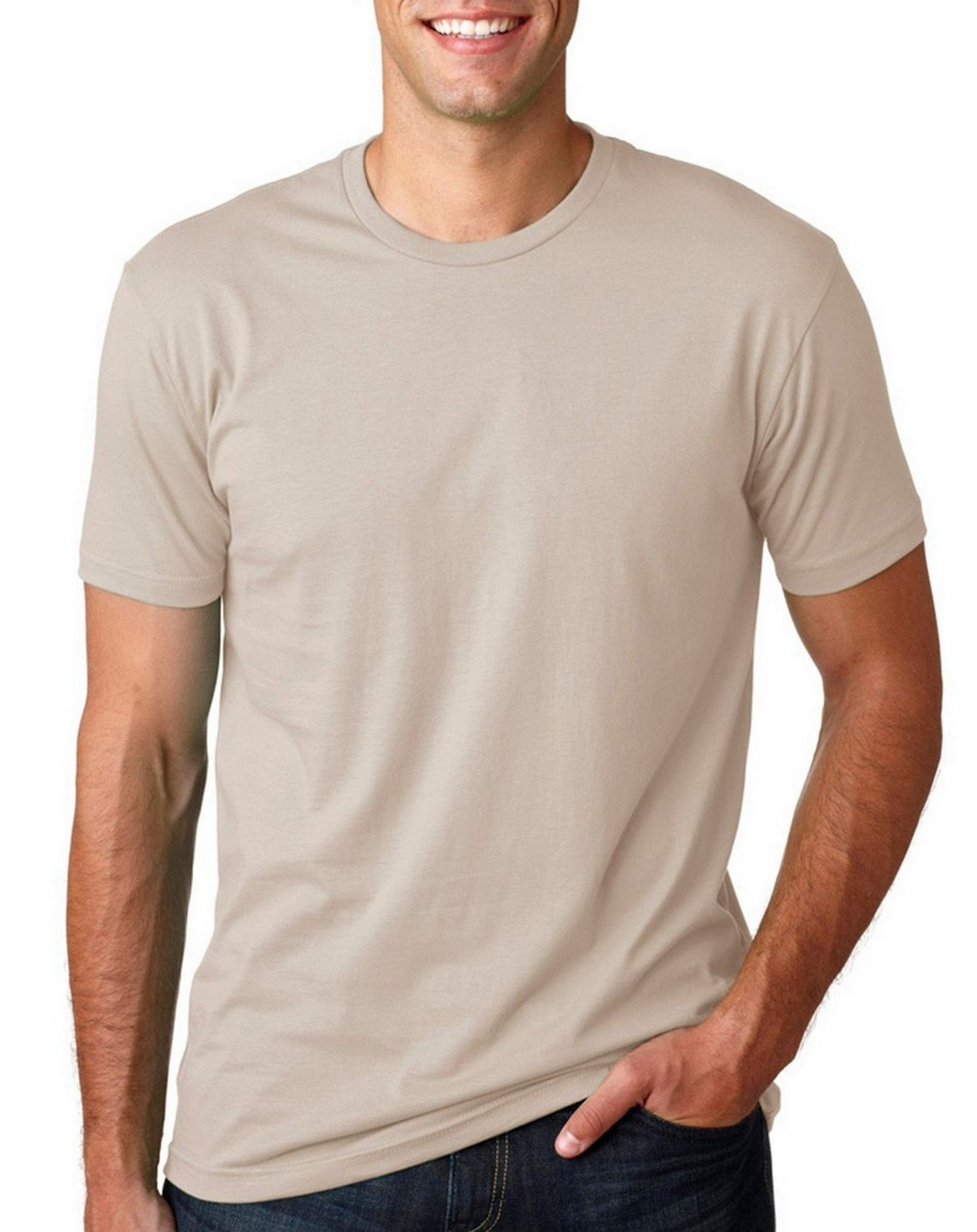 Next Level Mens Premium Fitted Crew Sand Large (Pack of 5) by Next Level