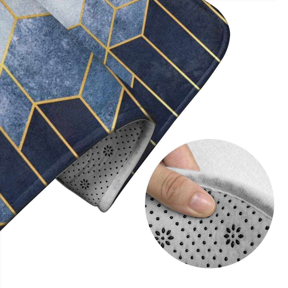 Yunshm Geometric Abstraction of Hexagons On A Blue Gold Elements Bathroom Mats U-Shaped Toilet Floor Rug Point Plastic Bottom Antiskid Pad Set of 2 Piece Customized