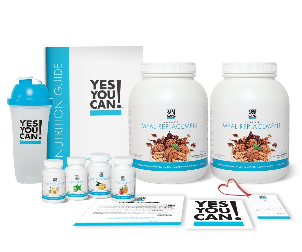 Yes You Can! Transform Kit: On-The-Go 60 Servings, Twice a Day, Contains: Two Complete Meal Replacement Chocolate, One Slim Down, One Appetite Support, One Collagen, One Colon Optimizer, One Shaker