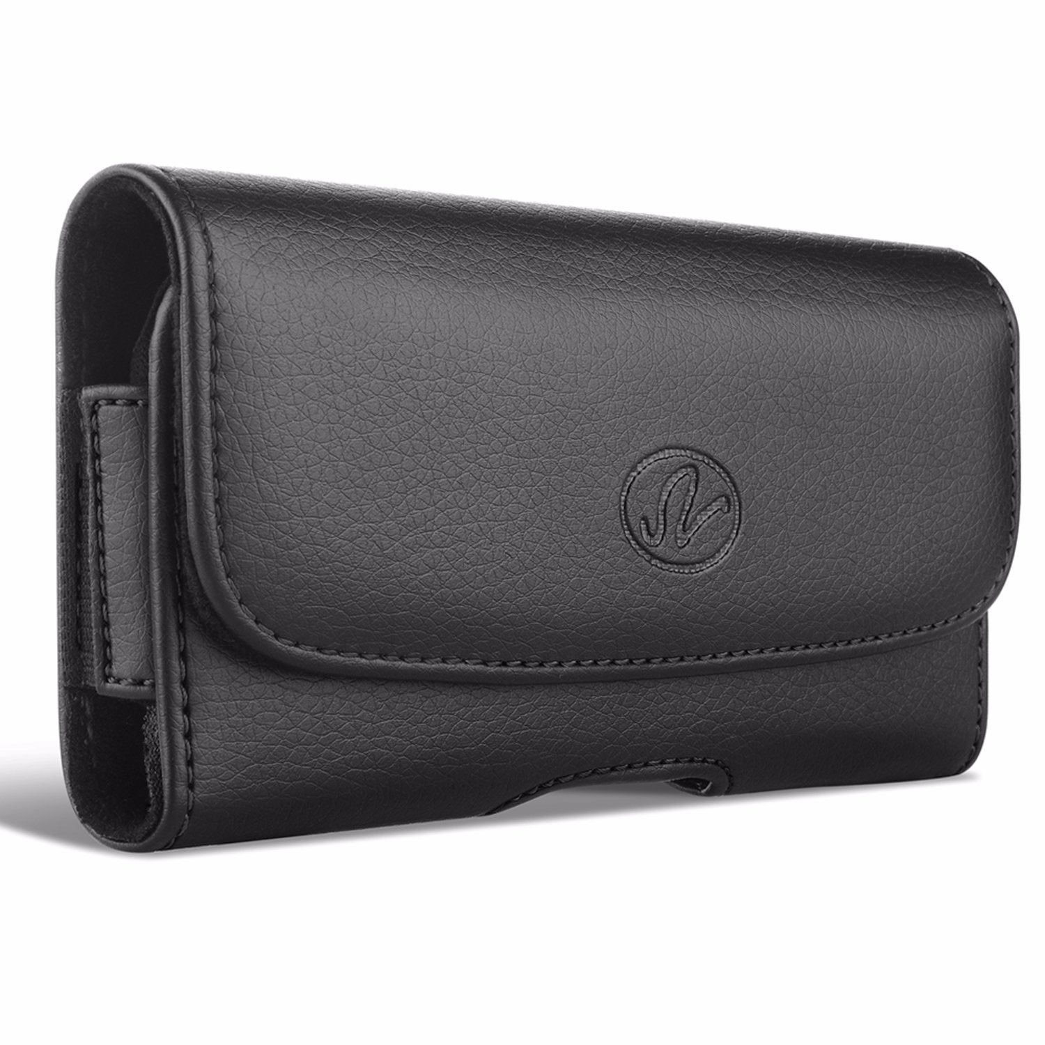 LG Q6 Premium Black Horizontal Leather Carrying Case Holster with Belt Clip & Belt Loops NEM Electronics